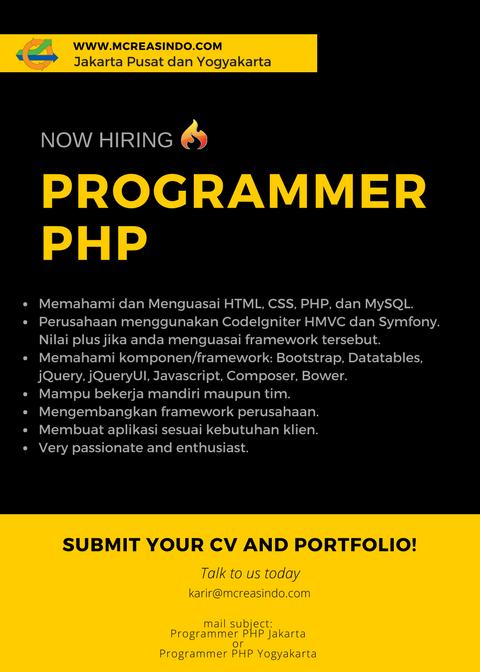 Lowongan Kerja Programmer PHP di Jakarta Pusat dan Yogyakarta